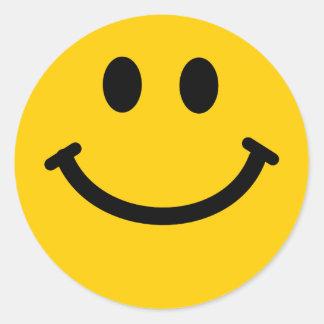 Pegatinas sonrientes felices amarillos de la cara pegatina redonda