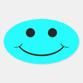 Pegatinas sonrientes ovales azules claros de la pegatina ovalada