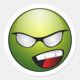 Pegatinas sonrientes verdes de la cara pegatina redonda