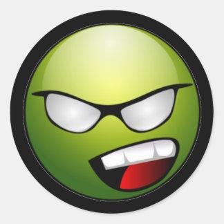 Pegatinas sonrientes verdes del negro de la cara pegatina redonda