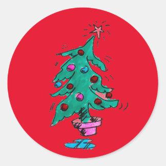 Pegatinas tambaleantes del árbol de navidad pegatina redonda