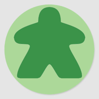 Pegatinas verdes de Meeple Pegatina Redonda
