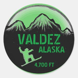 Pegatinas verdes del arte de la snowboard de pegatina redonda
