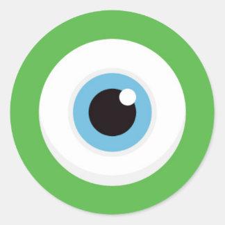 Pegatinas verdes del ojo del monstruo pegatina redonda