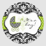 Pegatinas verdes elegantes del damasco del lunar pegatinas redondas