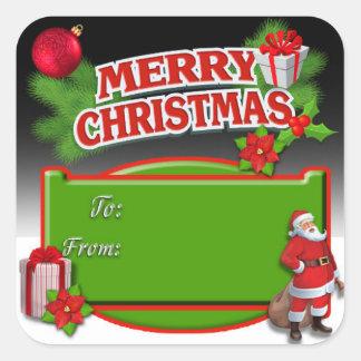 Red Black Green Santa Poinsettia Gift Tag Stickers