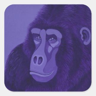 Pegatinas violetas del gorila pegatina cuadrada