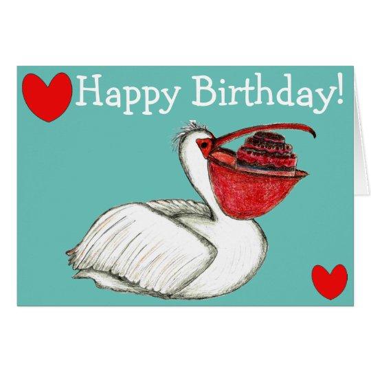 Pelican with birthday cake tarjeta de felicitación