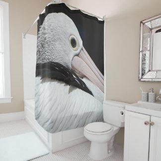 Pelícano blanco rosado negro cortina de baño