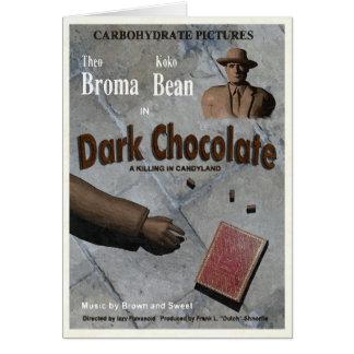 Película oscura del chocolate tarjetón