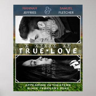 Película romántica de la foto del boda o de póster