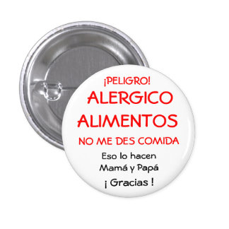 ¡PELIGRO!,  ALERGICOALIMENTOS, NO ME DES COMIDA... CHAPA REDONDA 2,5 CM