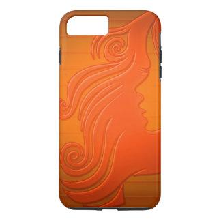 Pelo anaranjado personalizado de la cara de la funda iPhone 7 plus