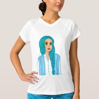 Pelo azul camiseta