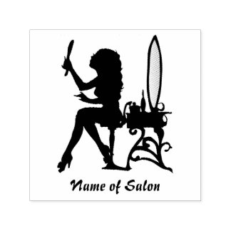 Pelo femenino de la silueta de la mujer del chica sello automático