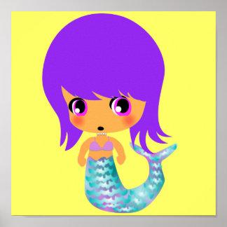 pelo mágico de la púrpura de la sirena del chibi póster