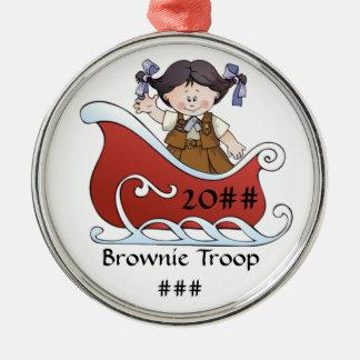 Pelo negro del trineo del explorador del brownie adorno navideño redondo de metal