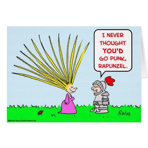 pelo punky del rapunzel tarjeta