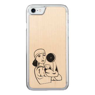 Pelo rizado de la caja de madera del teléfono de funda para iPhone 7 de carved