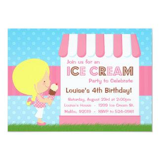 Pelo rubio de la fiesta de cumpleaños del helado invitación 12,7 x 17,8 cm