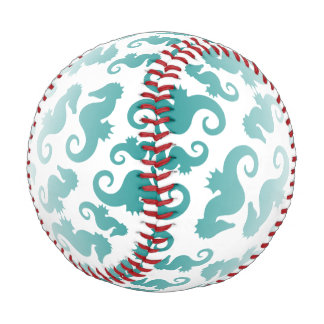 Pelota De Béisbol Aguamarina de los Seahorses/fondo del