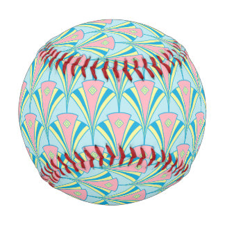 Pelota De Béisbol Diseño en colores pastel geométrico de la fan del