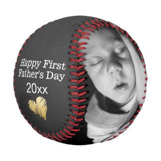 Pelota De Béisbol El primer día de padres feliz personalizó uno de