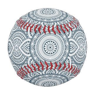 Pelota De Béisbol Mandala floral blanca azul geométrica