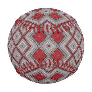 Pelota De Béisbol Modelo abstracto geométrico rojo y gris del