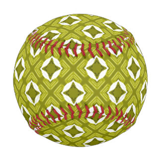 Pelota De Béisbol Modelo geométrico del verde de mostaza y blanco