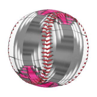 Pelota De Béisbol Modelo geométrico gris y blanco rosado