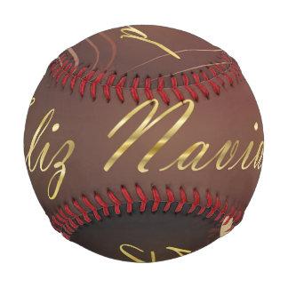 Pelota De Béisbol Navidad de oro motivo con el fondo rojo…