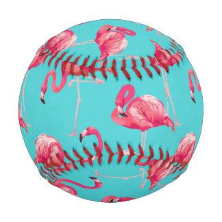 Pelota De Béisbol Pájaros rosados del flamenco en fondo de la