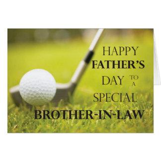 Pelota de golf del día de padre del cuñado en tarjeta de felicitación
