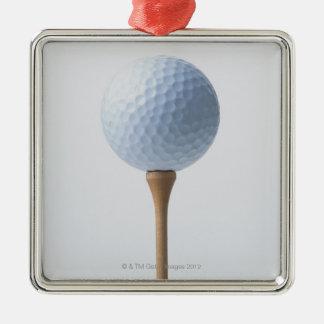 Pelota de golf y camiseta adorno navideño cuadrado de metal