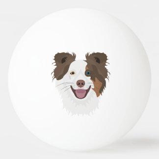 Pelota De Ping Pong Border collie feliz de la cara de los perros del