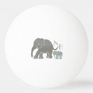 Pelota De Ping Pong Elefantes grises del monograma y verdes olivas