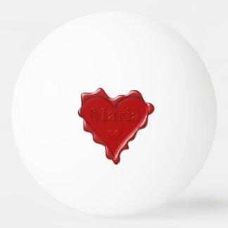Pelota De Ping Pong Maria. Sello rojo de la cera del corazón con Maria