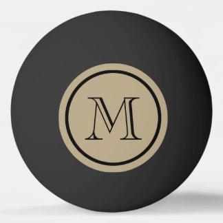 Pelota De Ping Pong Monograma del personalizado del negro del color