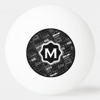 Pelota De Ping Pong Monograma personalizado de la fiesta de cumpleaños