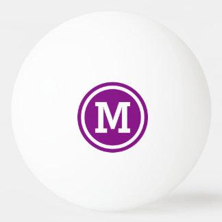 Pelota De Ping Pong Monograma púrpura y blanco del círculo