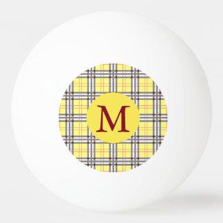 Pelota De Ping Pong Monograma rojo, gris y amarillo de la tela