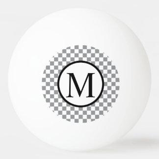 Pelota De Ping Pong Monograma simple con el tablero de damas gris