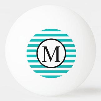 Pelota De Ping Pong Monograma simple con las rayas horizontales de la