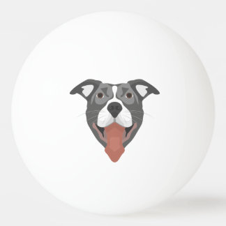 Pelota De Ping Pong Perro Pitbull sonriente del ilustracion