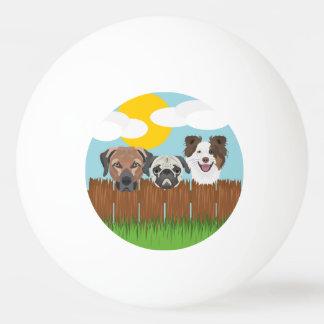 Pelota De Ping Pong Perros afortunados del ilustracion en una cerca de