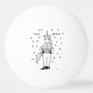 Pelota De Ping Pong Unicornio del feliz cumpleaños