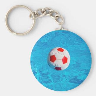 Pelota de playa que flota en piscina azul llavero