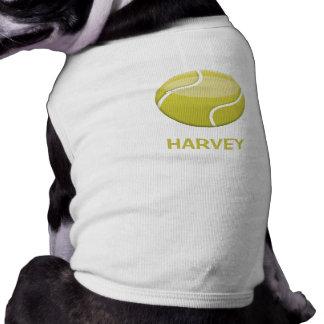Pelota de tenis del dibujo animado y el nombre de camiseta sin mangas para perro