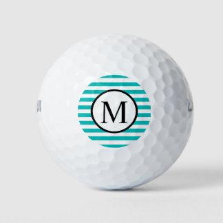 Pelotas De Golf Monograma simple con las rayas horizontales de la